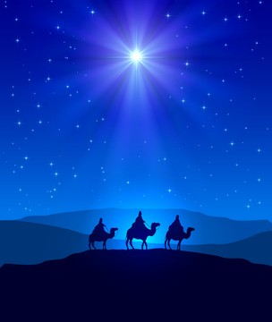 Christian Christmas night with shining star on blue sky and three wise men, illustration.