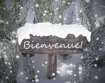 Wooden Christmas Sign With Snow And Fir Tree Branch In The Snowy Forest. French Text Bienvenue Means Welcome For Seasons Greetings Or Christmas Greetings. Christmas Atmosphere With Snowflakes
